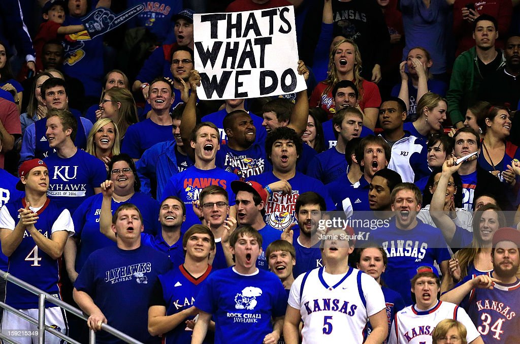 Fans cheer during the game against the Iowa State Cyclones at Allen Fieldhouse on January 9, 2013 in Lawrence, Kansas.