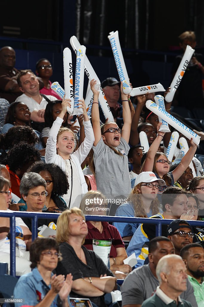 Fans cheer during the game between the Indiana Fever and Chicago Sky on July 22, 2014 at the Allstate Arena in Rosemont, Illinois.