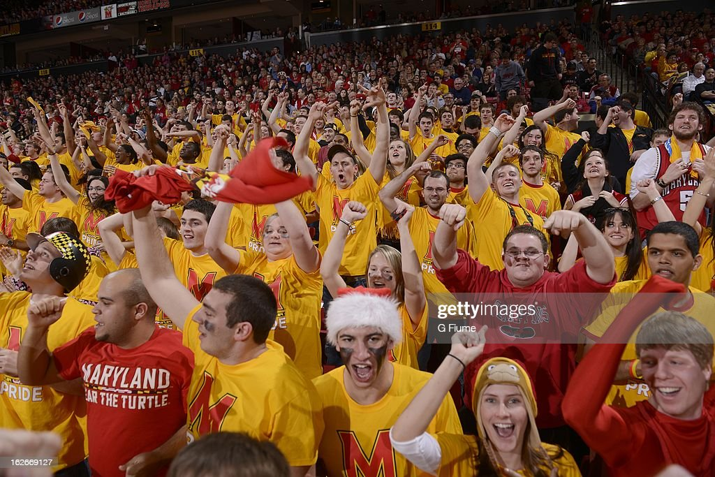 Fans cheer during the game between the Maryland Terrapins and the Duke Blue Devils at the Comcast Center on February 16, 2013 in College Park, Maryland.