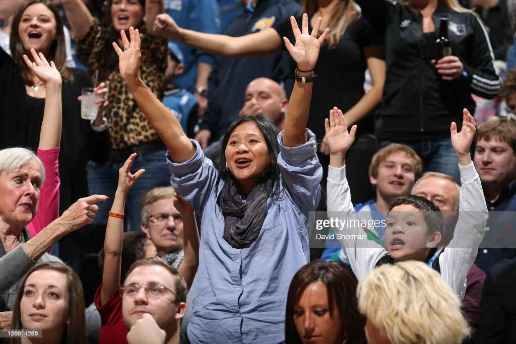 Fans cheer during the game between the Minnesota Timberwolves and the Denver Nuggets on November 21, 2012 at Target Center in Minneapolis, Minnesota.