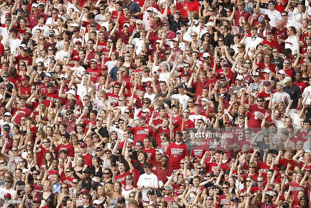 Fans cheer during the game between the South Carolina Gamecocks and the Georgia Bulldogs at WilliamsBrice Stadium in Columbia South Carolina on...