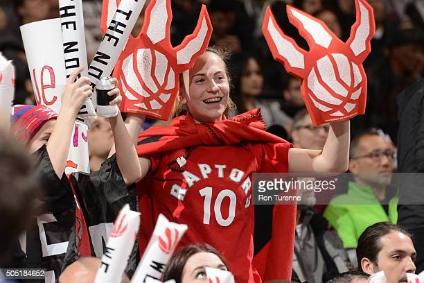 Fans cheer during the game between the the Chicago Bulls and Toronto Raptors on January 3 2016 at Air Canada Centre in Toronto Canada NOTE TO USER...