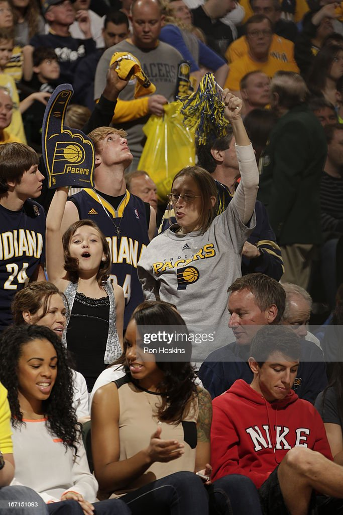Fans cheer during the Game One of the Eastern Conference Quarterfinals between the Indiana Pacers and the Atlanta Hawks on April 21, 2013 at Bankers Life Fieldhouse in Indianapolis, Indiana.