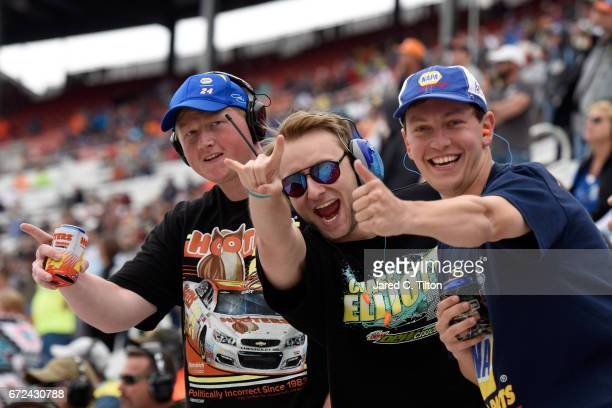 Fans cheer during the Monster Energy NASCAR Cup Series Food City 500 at Bristol Motor Speedway on April 24 2017 in Bristol Tennessee