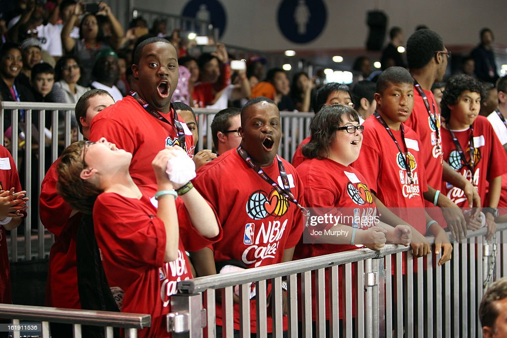 Fans cheer during the NBA Cares Special Olympics Unity Sports Basketball Game on Center Court during the 2013 NBA Jam Session on February 17, 2013 at the George R. Brown Convention Center in Houston, Texas.