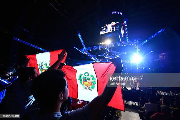 Fans cheer during the UFC Fight Night event at Arena Monterrey on November 21 2015 in Monterrey Mexico