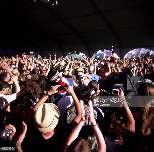 Fans cheer for artist Amanda Palmer during her performance at the Coachella Valley Music and Arts Festival at the Empire Polo Fields on April 19 2009...