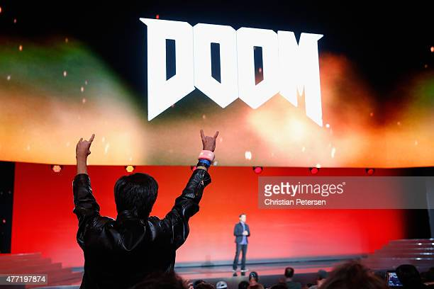 Fans cheer for Executive Producer for Id Software Marty Stratton as he speaks about 'Doom' during the Bethesda E3 2015 press conference at the Dolby...