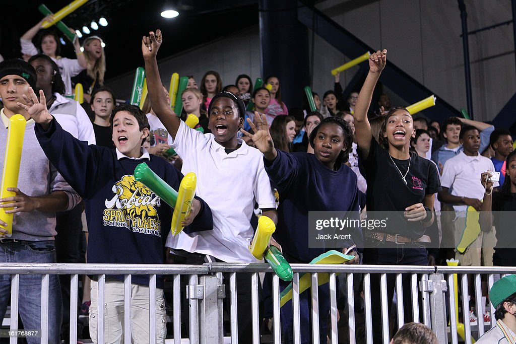 Fans cheer for for t-shirts before the Sprite Uncontainable Game in Sprint Arena during the 2013 NBA Jam Session on February 15, 2013 at the George R. Brown Convention Center in Houston, Texas.