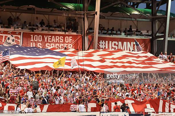 Fans cheer for the US Men's National Team during a game against Mexico at Columbus Crew Stadium on September 10 2013 in Columbus Ohio
