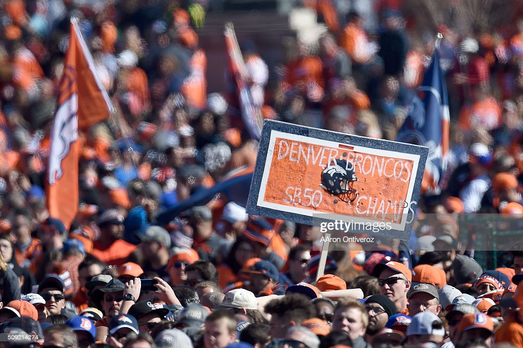 Fans cheer in Civic Center Park during the Denver Broncos Super Bowl championship celebration and parade on Tuesday February 9, 2016.