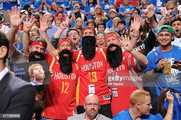 Fans cheer in Game Four of the Western Conference Quarterfinals between the Dallas Mavericks and the Houston Rockets during the 2015 NBA Playoffs on...