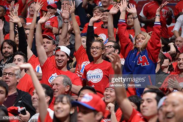 Fans cheer in Game One of the Western Conference Quarterfinals between the Los Angeles Clippers and the San Antonio Spurs during the 2015 NBA...