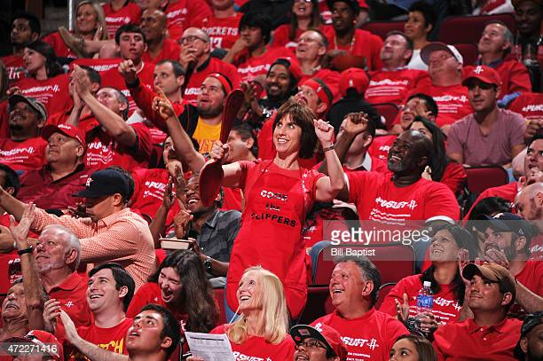 Fans cheer in Game One of the Western Conference Semifinals between the Houston Rockets and the Los Angeles Clippers during the 2015 NBA Playoffs on...