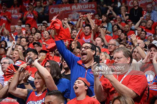 Fans cheer in Game Seven of the Western Conference Quarterfinals between the Los Angeles Clippers and the San Antonio Spurs during the 2015 NBA...