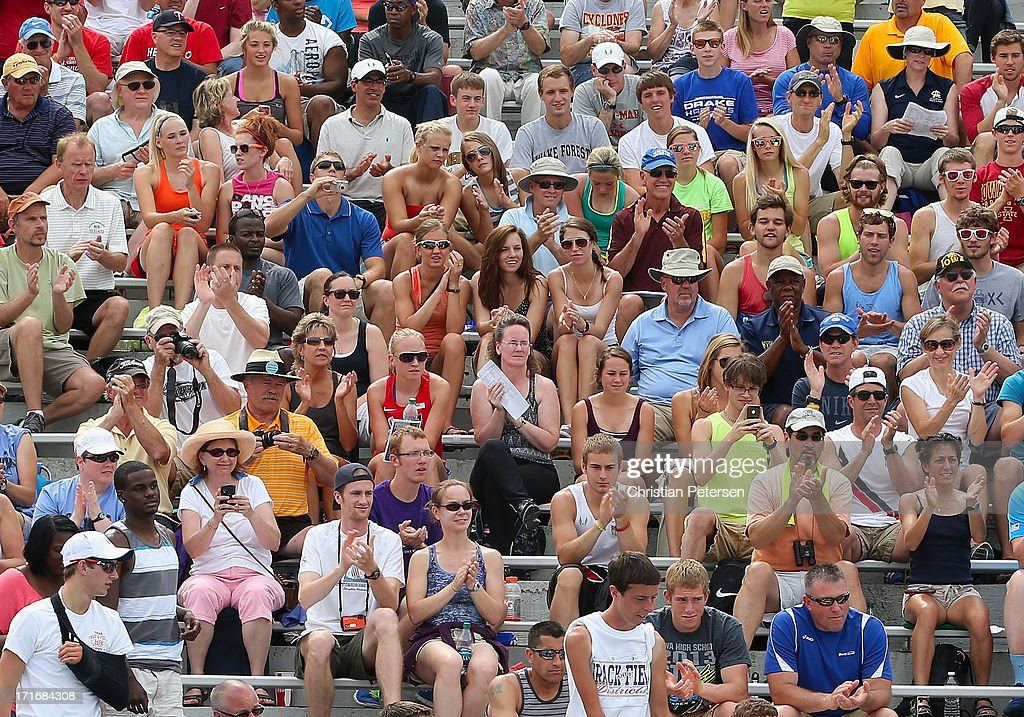 Fans cheer on day four of the 2013 USA Outdoor Track & Field Championships at Drake Stadium on June 23, 2013 in Des Moines, Iowa.