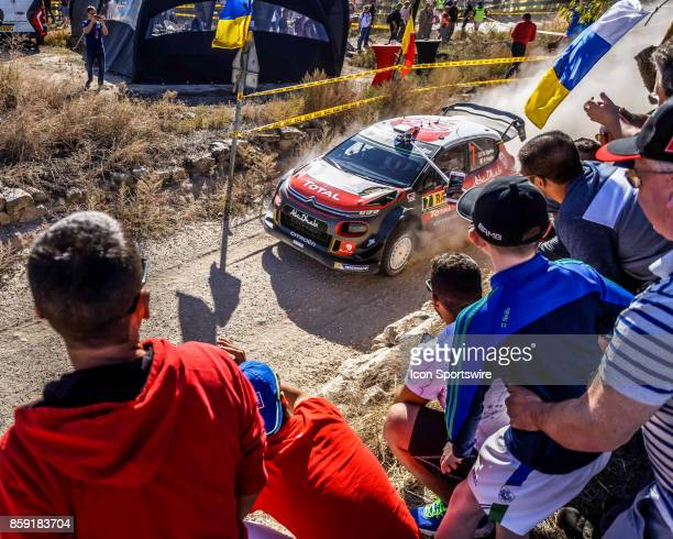 Fans cheer on Kris Meeke and codriver Paul Nagle of Citroën World Rally Team during the Terra Alta Stage of the Rally de Espana round of the 2017 FIA...
