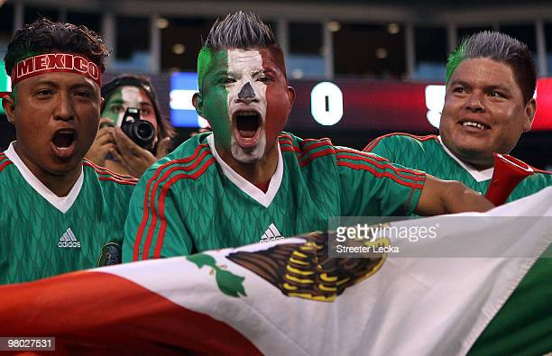 Fans cheer on Mexico during an international friendly against Iceland at Bank of America Stadium on March 24 2010 in Charlotte North Carolina