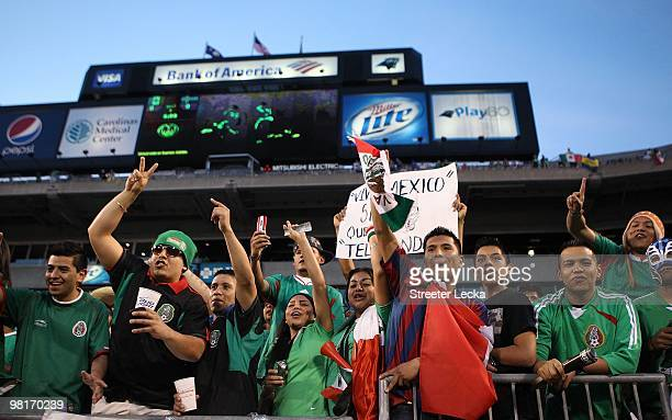 Fans cheer on Mexico during the game between Iceland and Mexico at Bank of America Stadium on March 24 2010 in Charlotte North Carolina