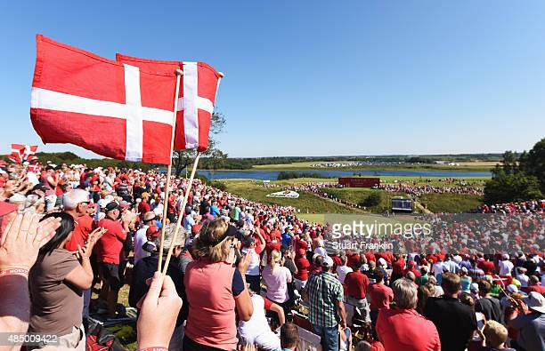 Fans cheer on the 16th hole during the final round of the Made in Denmark at Himmerland Golf Spa Resort on August 23 2015 in Aalborg Denmark