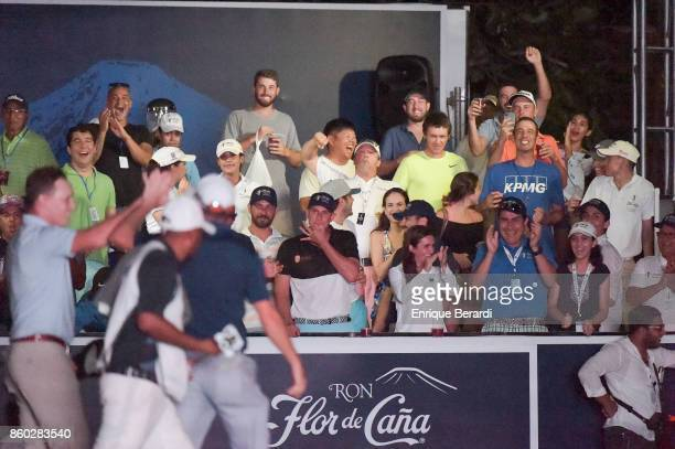 Fans cheer on the 18th hole during the final round of the PGA TOUR Latinoamérica Flor de Cana Open at Mukul Beach Golf and Spa on September 3 2017 in...