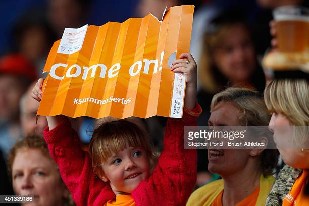 Fans cheer on the athletes during day one of the Sainsbury's British Championships at Birmingham Alexander Stadium on June 27 2014 in Birmingham...