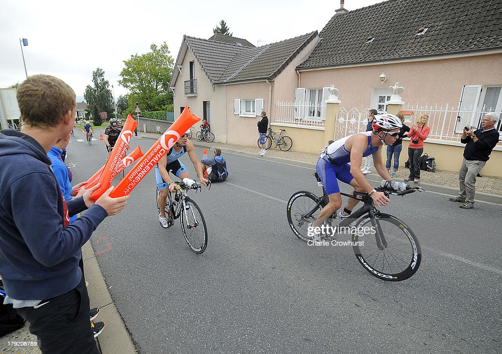 Fans cheer on the participants during the Challenge Triathlon Vichy on September 01, 2013 in Vichy, France.