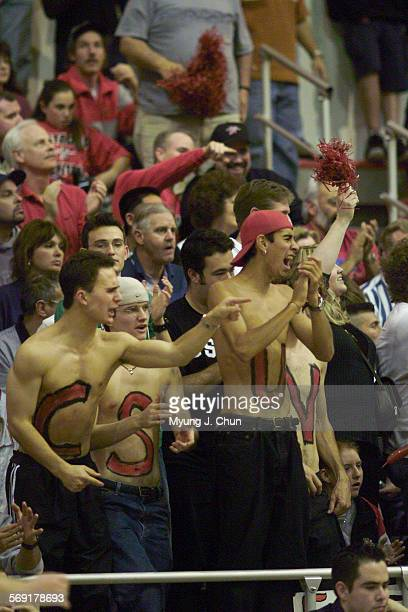 CSUN fans cheer on their team Saturday evening against Eastern Washington in the Big Sky Championship DIGITAL IMAGE SHOT ON SATURDAY 3/10/2001