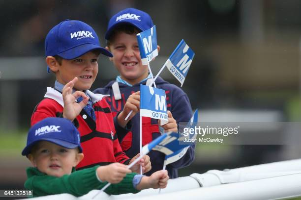 Fans cheer on Winx during the Chipping Norton Stakes at Royal Randwick Racecourse on February 25 2017 in Sydney Australia