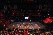 Fans cheer prior to during Game Two of the 2012 NHL Stanley Cup Final between the Los Angeles Kings and the New Jersey Devils at the Prudential...