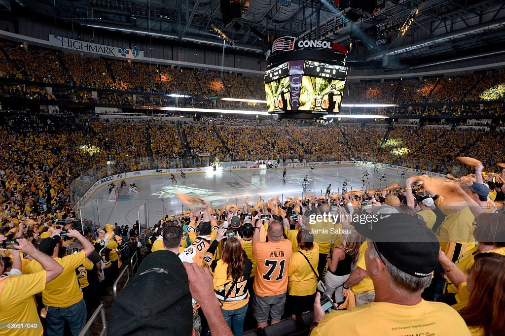Fans cheer prior to Game One of the 2016 NHL Stanley Cup Final between the Pittsburgh Penguins and the San Jose Sharks at Consol Energy Center on May 30, 2016 in Pittsburgh, Pennsylvania.