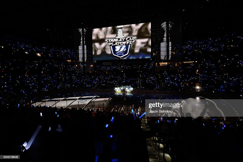 Fans cheer prior to Game Six of the Eastern Conference Final between the Pittsburgh Penguins and the Tampa Bay Lightning during the 2016 NHL Stanley Cup Playoffs at Amalie Arena on May 24, 2016 in Tampa, Florida.