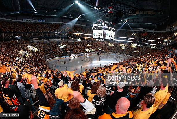 Fans cheer prior to the game against the New York Rangers and the Pittsburgh Penguins in Game One of the Eastern Conference Quarterfinals during the...
