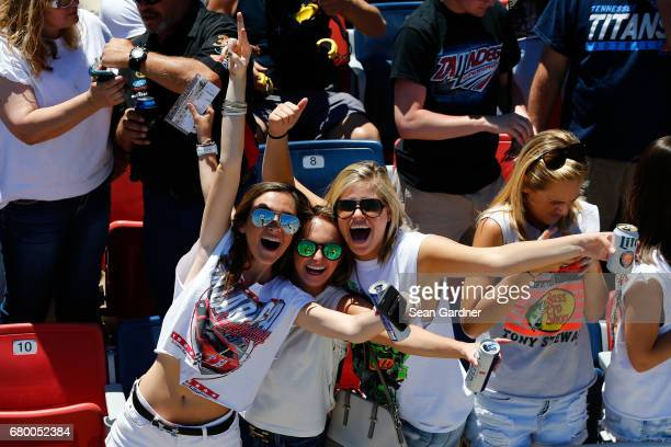 Fans cheer prior to the Monster Energy NASCAR Cup Series GEICO 500 at Talladega Superspeedway on May 7 2017 in Talladega Alabama