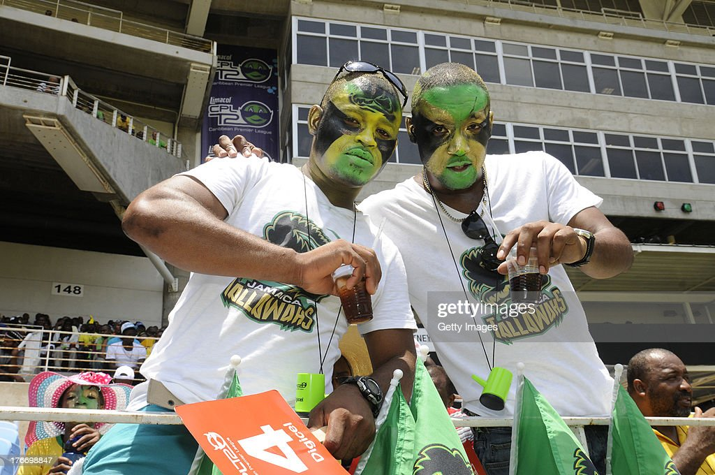 Fans cheer their team during the Eighteenth Match of the Cricket Caribbean Premier League between St. Lucia Zouks v Trinidad and Tobago Red Steel at Sabina Park on August 17, 2013 in Kingston, Jamaica.