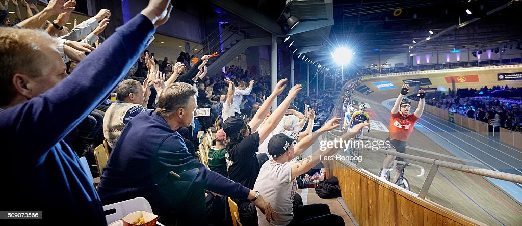 Fans cheer with Daniel Holloway during day five at the Copenhagen Six Days Race Cycling at Ballerup Super Arena on February 8, 2016 in Ballerup, Denmark.