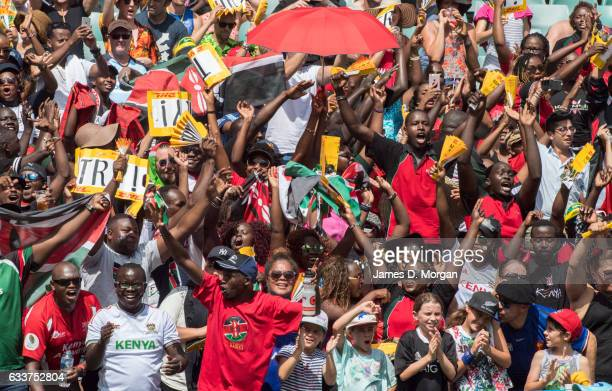 Fans cheering on Kenya at the 2017 HSBC Sydney Sevens at Allianz Stadium on February 4 2017 in Sydney Australia Thousands of fans from all over the...