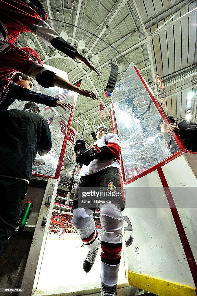 Fans clamor for a high-five from Colin Greening #14 of the Ottowa Senators as he leaves the ice after warmups before a game against the Carolina Hurricanes at PNC Arena on February 1, 2013 in Raleigh, North Carolina.