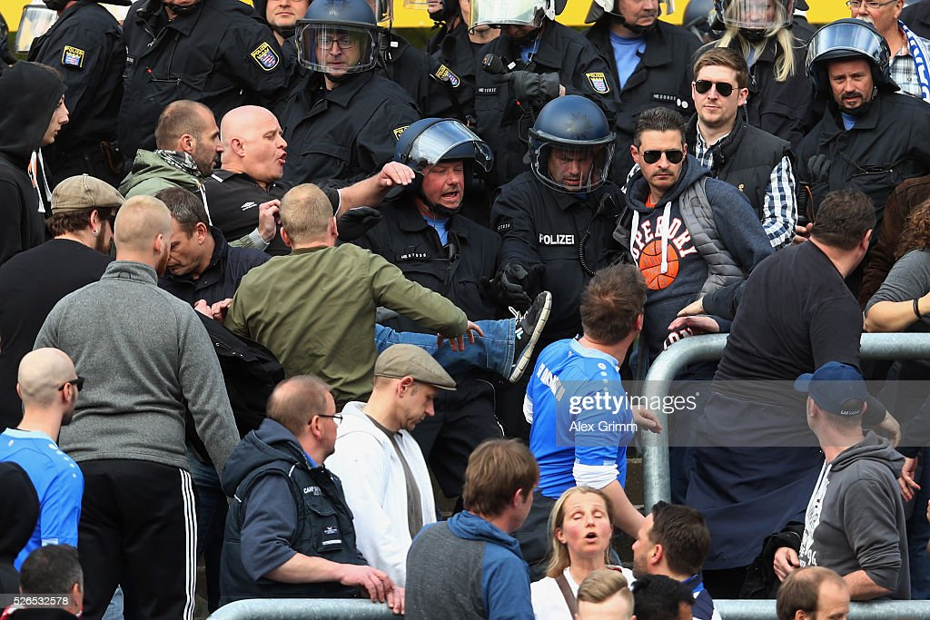 Fans clash with police forces during the Bundesliga match between SV Darmstadt 98 and Eintracht Frankfurt at Merck-Stadion am Boellenfalltor on April 30, 2016 in Darmstadt, Hesse.
