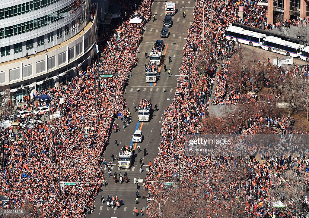 Fans crowd downtown Denver during a parade to celebrate the Denver Broncos winning Super Bowl 50, February 09, 2016. The parade went from Union Station and ended at Civic Center Park.