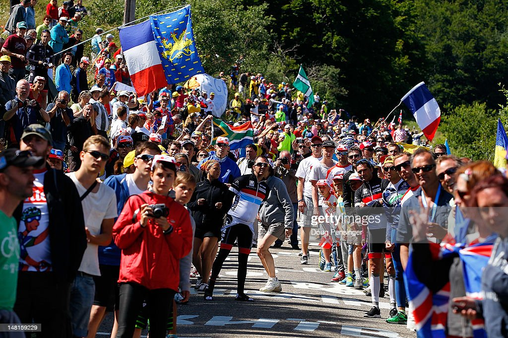 Fans crowd route on the climb of the Col du Grand Columbier during stage ten of the 2012 Tour de France from Macon to Bellegarde-Sur-Valserine on July 11, 2012 in La Sapette, France.