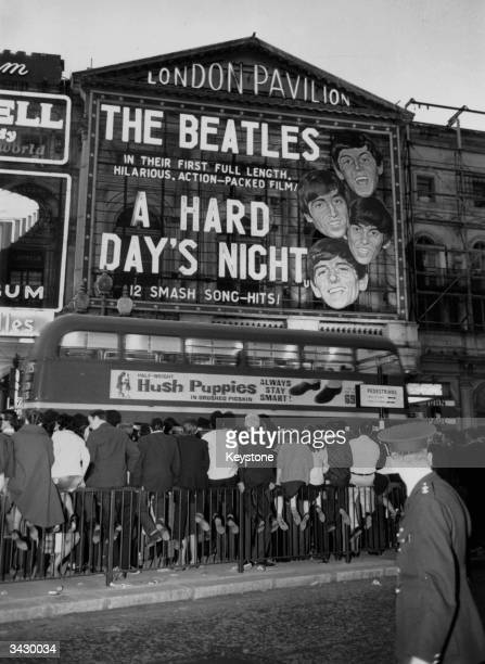 Fans crowding the street outside the London Pavilion before a screening of the Beatles' first featurelength film 'A Hard Day's Night'