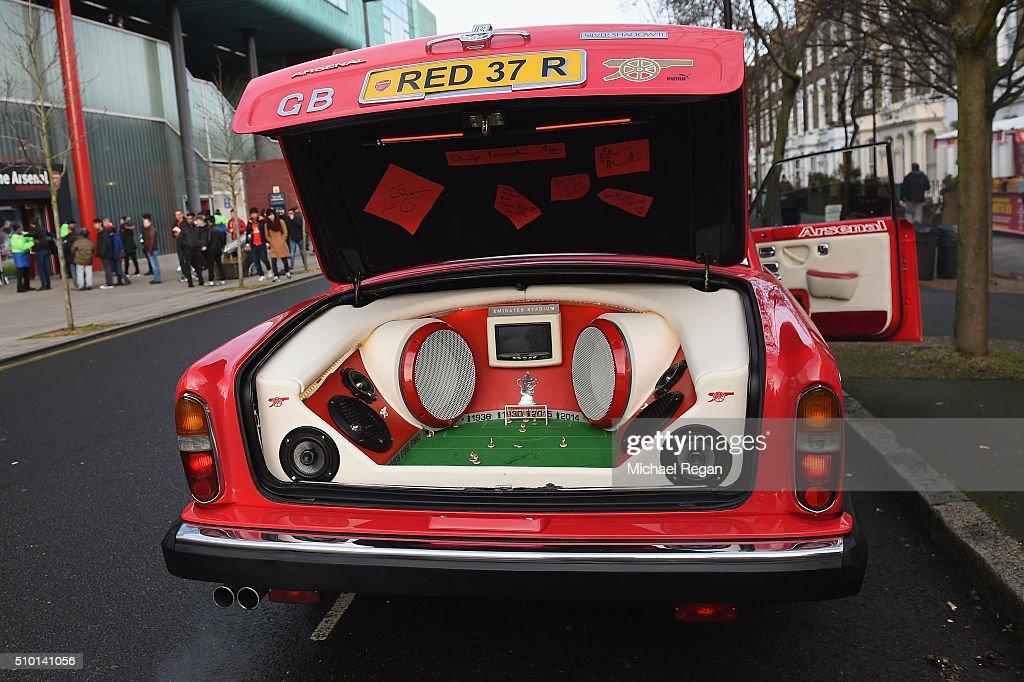 A fans customised car, prior to the Barclays Premier League match between Arsenal and Leicester City at the Emirates Stadium.