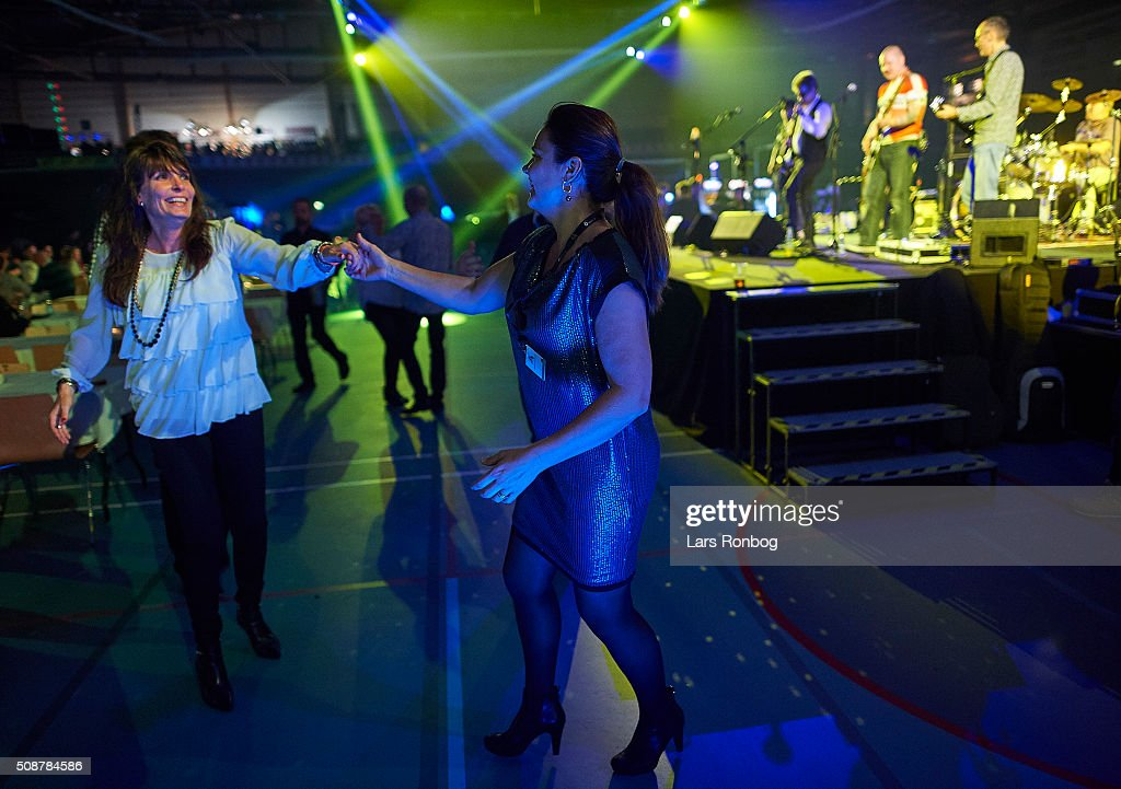 Fans dancing in front of the stage during day three at the Copenhagen Six Days Race Cycling at Ballerup Super Arena on February 6, 2016 in Ballerup, Denmark.