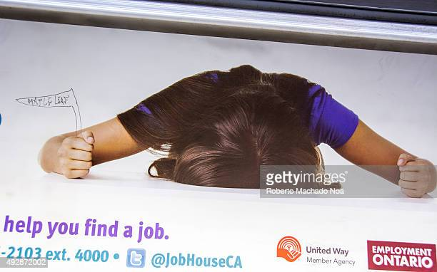 Fans disappointment with the Maple Leaf team This sign was seen on the TTC subway train Employment Ontario billboard showing a frustrated woman...