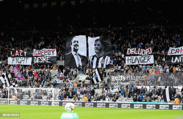 Fans display banners and flags prior prior to the Premier League match between Newcastle United and Crystal Palace at St James Park on October 21...