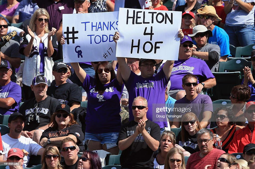 Fans display signs in support of <a gi-track='captionPersonalityLinkClicked' href=/galleries/search?phrase=Todd+Helton&family=editorial&specificpeople=200735 ng-click='$event.stopPropagation()'>Todd Helton</a> #17 of the Colorado Rockies against the St. Louis Cardinals at Coors Field on September 19, 2013 in Denver, Colorado.