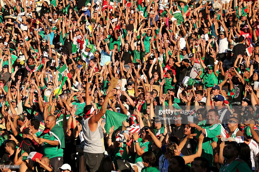 Fans do the wave during the game between Mexico and Panama during the first round of the 2013 CONCACAF Gold Cup at the Rose Bowl on July 7, 2013 in Pasadena, California. Panama won 2-1.