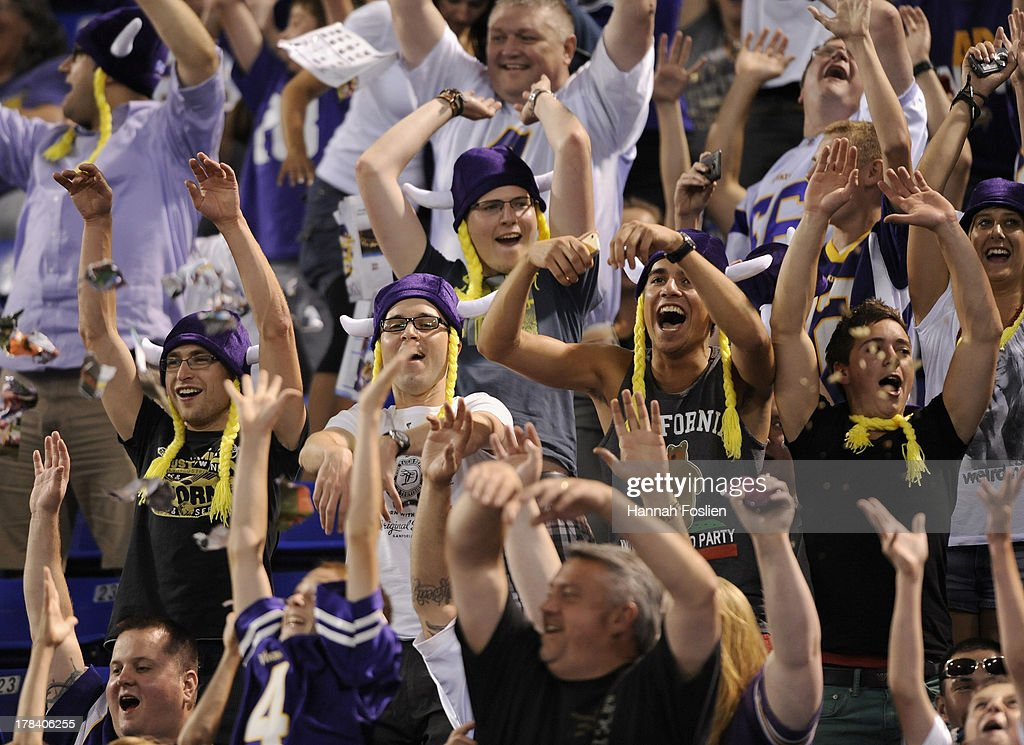 Fans do the wave during the third quarter of the game between the Minnesota Vikings and the Tennessee Titans on August 29, 2013 at Mall of America Field at the Hubert H. Humphrey Metrodome in Minneapolis, Minnesota. The Vikings defeated the Titans 24-23.