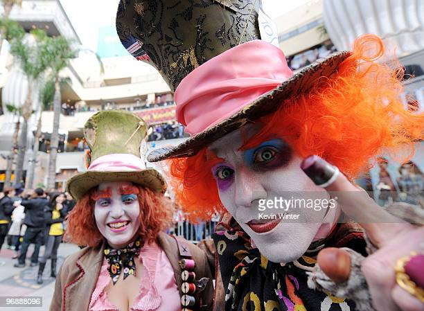 Fans dress as their favorite character at Walt Disney Pictures Buena Vista Records 'Alice in Wonderland' Fan Event at Hollywood Highland on February...